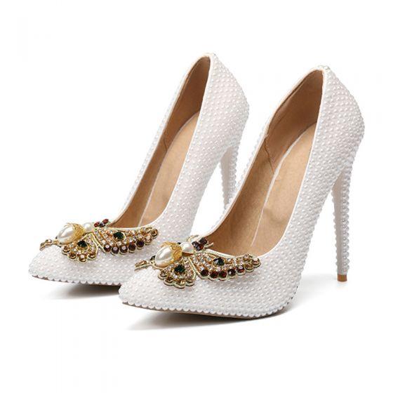 Fabulous Ivory Pearl Wedding Shoes 2020 Rhinestone Butterfly 11 cm Stiletto Heels Pointed Toe Wedding Pumps