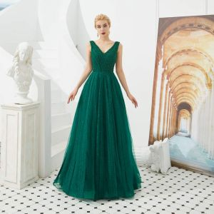 Best Dark Green Evening Dresses  2019 A-Line / Princess V-Neck Sleeveless Beading Glitter Tulle Floor-Length / Long Ruffle Backless Formal Dresses