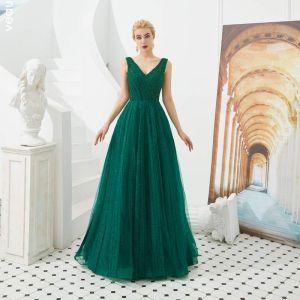 Best Dark Green Evening Dresses  2019 A-Line / Princess V-Neck Sleeveless Beading Glitter Tulle Floor-Length / Long Ruffle Backless Formal Dresses