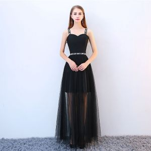 Chic / Beautiful Black Cocktail Dresses 2018 A-Line / Princess Spaghetti Straps Backless Sleeveless Floor-Length / Long Formal Dresses