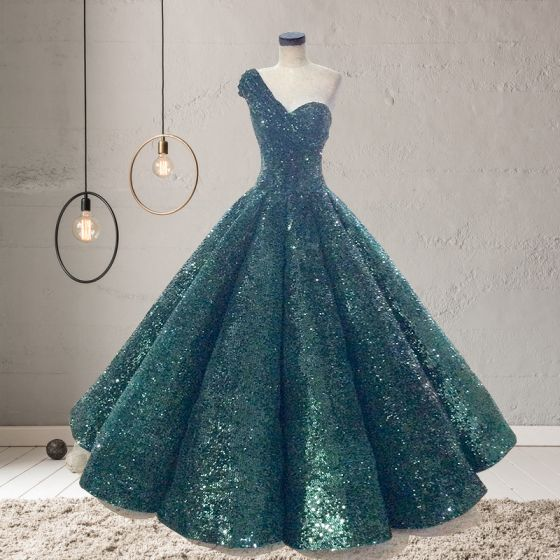Sparkly Dark Green Sequins Dancing Prom Dresses 2020 Ball Gown One-Shoulder Sleeveless Floor-Length / Long Ruffle Backless Formal Dresses