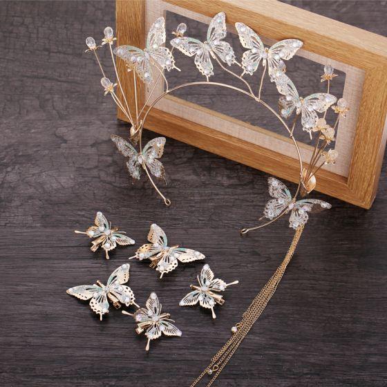 Hada de las flores Oro Tocados de novia 2019 Metal mariposa Rhinestone Tassel Tocados