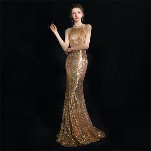 Sparkly Gold Evening Dresses  2019 Trumpet / Mermaid Halter Sleeveless Glitter Sequins Floor-Length / Long Ruffle Backless Formal Dresses