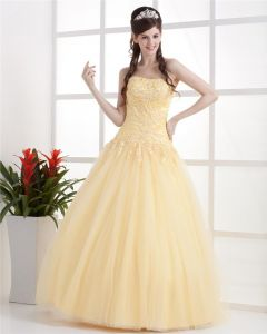 Ball Gown Satin Yarn Ruffle Applique Floor Length Quinceanera Adult Prom Dress
