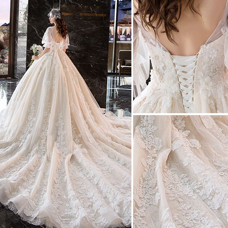 Charming Champagne Wedding Dresses 2019 Ball Gown V-Neck Appliques Flower Lace Pearl 1/2 Sleeves Backless Royal Train
