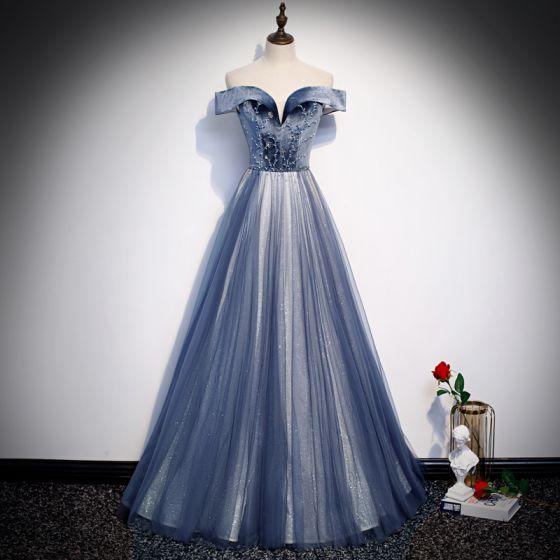 Beste Königliches Blau Abendkleider 2020 A Linie Off Shoulder Kurze Ärmel Perlenstickerei Glanz Tülle Lange Rüschen Rückenfreies Festliche Kleider