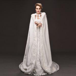 Luxus / Herrlich Weiß Mantel Riemchen Polyester Hochzeit Abend Brautaccessoires 2019
