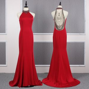 Fashion Red See-through Evening Dresses  2020 Trumpet / Mermaid Scoop Neck Sleeveless Beading Sweep Train Ruffle Formal Dresses
