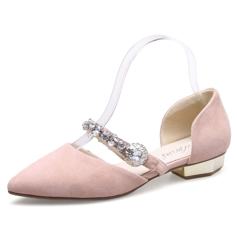 Chic / Beautiful Outdoor / Garden Womens Shoes 2017 Leather Rhinestone Sandals Pointed Toe