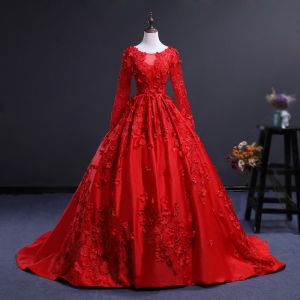 Charming Red See-through Prom Dresses 2018 Ball Gown Scoop Neck Long Sleeve Appliques Flower Chapel Train Ruffle Formal Dresses