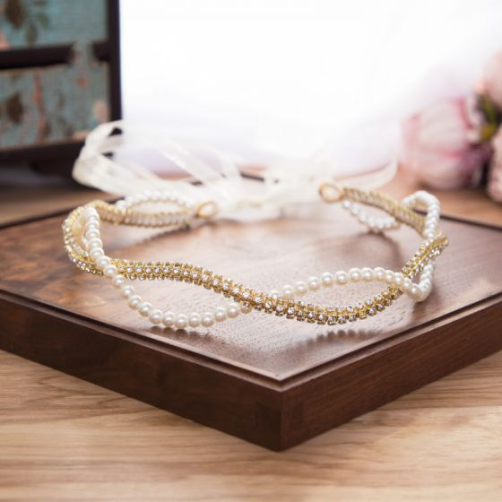 Elegant Guld Rhinestone Ivory Perle Pandebånd Hårpynt 2020 Snøre Bryllups Hårpynt