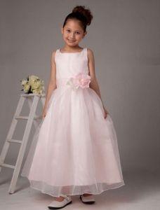 Vestido De Organza De Raso Niña De Las Flores De Color Rosa Flor De Espagueti