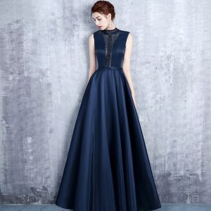 Vintage Navy Blue Evening Dresses  2017 A-Line / Princess High Neck Sleeveless Pearl Crystal Sash Floor-Length / Long Ruffle Pierced Backless Formal Dresses