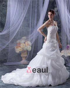 Organza Satin Applique Rüschen Gericht A-linie Brautkleider Hochzeitskleid