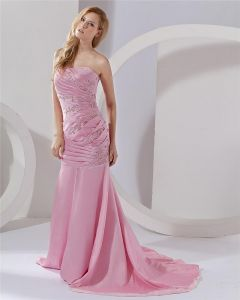 Mermaid Strapless Taffeta Beading Custom Prom Gowns