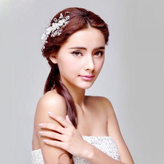 Main Fleur De Cristal La Coiffure / Fleur Tete / Accessoires De Cheveux De Mariage / Bijoux De Mariage Nuptiale