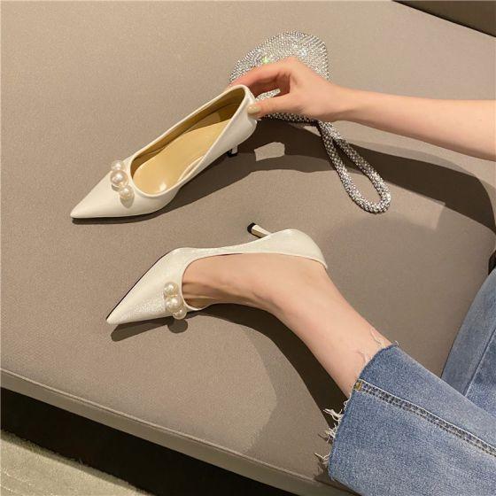 Mode Weiß Datierung Perle Pumps 2021 7 cm Stilettos Spitzschuh Pumps Hochhackige