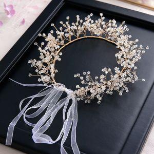 Elegante Goud Hoofdbanden 2020 Legering Kristal Lace-up Haaraccessoires Huwelijk Bruids Haaraccessoires