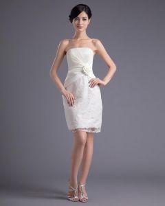 Fashion Satin Spitze Gefaltetes Blumenträgerlosen Oberschenkellänge Kurz Brautkleider Mini