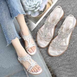 Bohemia Silver Summer Street Wear Rhinestone Slipper & Flip flops 2020 Open / Peep Toe Flat Womens Shoes
