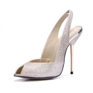 Charmant Gold Pailletten Slingpumps Sandalen Damen 2020 11 cm Stilettos Peeptoes Sandaletten