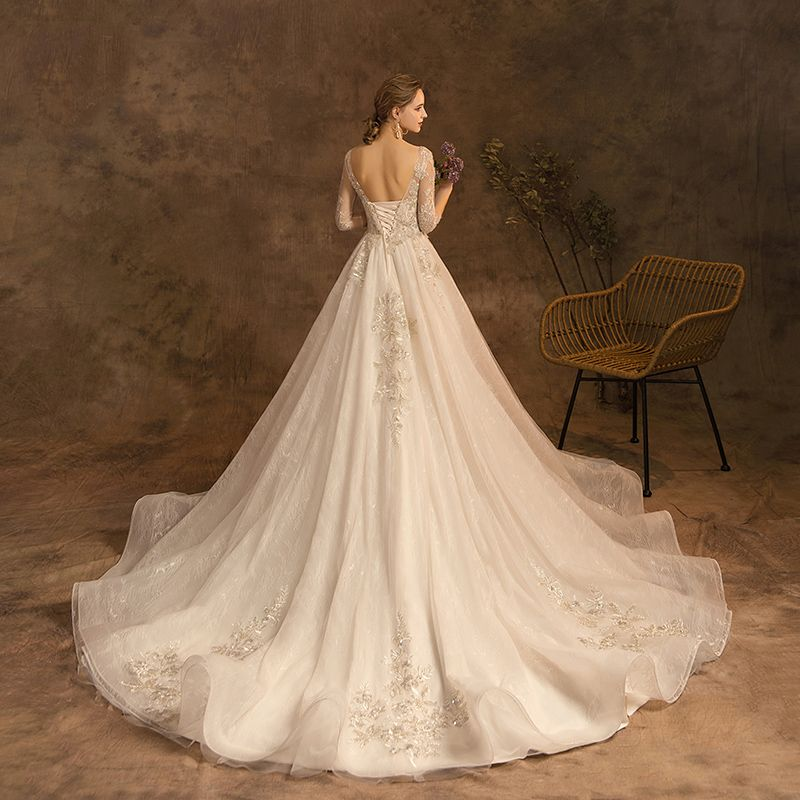 Charming Champagne Wedding Dresses 2019 A-Line / Princess Scoop Neck Beading Lace Flower Sequins 3/4 Sleeve Backless Cathedral Train Wedding