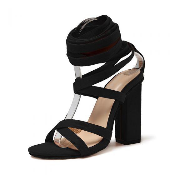 Charming Black Rave Club Womens Sandals 2020 8 cm Thick Heels Open / Peep Toe Sandals