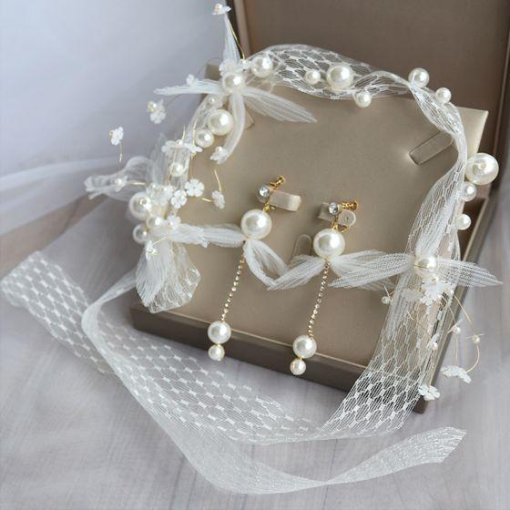 Elegante Ivoor Bruidssieraden 2020 Lace-up Bloem Parel Oorbellen Hoofdbanden Bruids Haaraccessoires