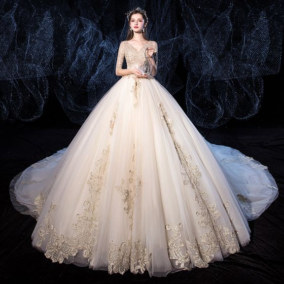 Luxury / Gorgeous Champagne Wedding Dresses 2020 Ball Gown V-Neck Beading Sequins Lace Flower 1/2 Sleeves Backless Royal Train