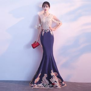 Amazing / Unique Navy Blue Evening Dresses  2018 Trumpet / Mermaid U-Neck Lace Beading Rhinestone Backless Crystal Evening Party Formal Dresses