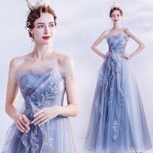 Chic / Belle Bleu Ciel Dansant Robe De Bal 2021 Princesse Bustier Sans Manches Perlage Glitter Tulle Longue Volants Dos Nu Robe De Ceremonie