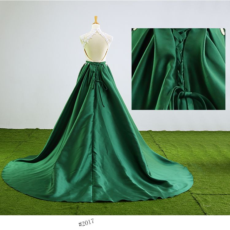 Chinese style Dark Green Prom Dresses 2017 High Neck Sleeveless Appliques Backless Bow Sash Satin Formal Dresses Chapel Train