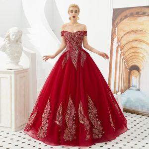 Hermoso Rojo Vestidos de gala 2019 A-Line / Princess Fuera Del Hombro Manga Corta Apliques Con Encaje Sin Espalda Largos Vestidos Formales