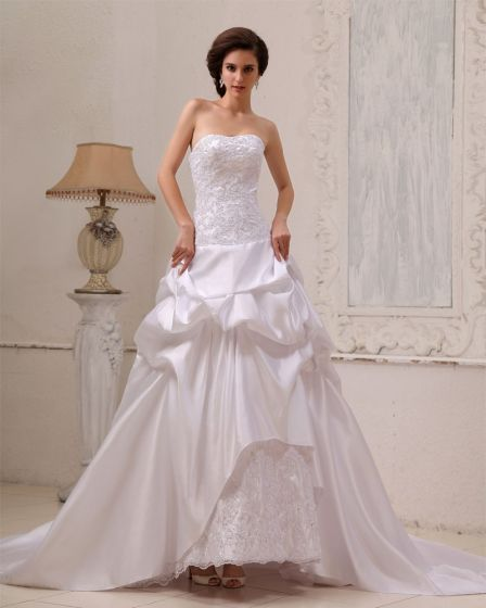 Sleeveless Taffeta Beading Ruffle Sweetheart Chapel Train A-Line Wedding Dresses