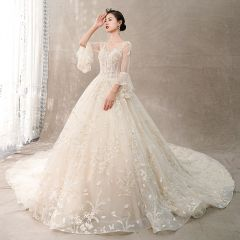 Chic / Beautiful Champagne See-through Wedding Dresses 2018 Ball Gown Scoop Neck Bell sleeves Backless Butterfly Appliques Lace Handmade  Beading Rhinestone Cathedral Train Ruffle