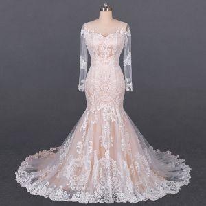 Luksusowe Szampan Przezroczyste ślubna Suknie Ślubne 2020 Syrena / Rozkloszowane Wycięciem Długie Rękawy Bez Pleców Aplikacje Z Koronki Trenem Sąd Wzburzyć