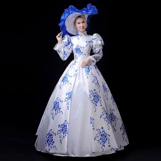 Vintage / Originale Médiévale Style Chinois Blanche Bleu Roi Robe Boule Robe De Bal 2021 Manches Longues Col Haut Fermeture éclair Longue Impression Cosplay Promo Robe De Ceremonie