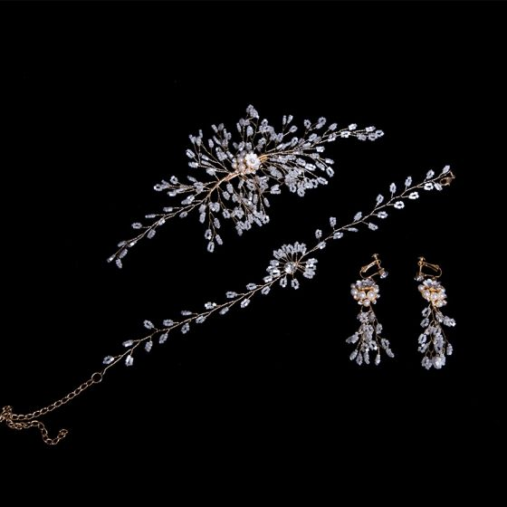 Modest / Simple Gold Bridal Jewelry 2020 Alloy Pearl Beading Headpieces Necklace Tassel Earrings Wedding Accessories