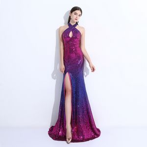 Chic / Beautiful Royal Blue Evening Dresses  2017 Trumpet / Mermaid Halter Backless Sequins Polyester Evening Party Formal Dresses