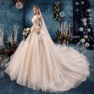 Elegant Champagne Wedding Dresses 2019 A-Line / Princess Sweetheart Sleeveless Backless Beading Glitter Tulle Cathedral Train Ruffle