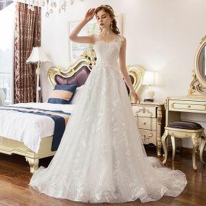 Classy Ivory Wedding Dresses 2019 A-Line / Princess V-Neck Sequins Lace Flower Sleeveless Backless Court Train