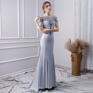 Luxury / Gorgeous Silver Handmade  Beading Evening Dresses  2019 Trumpet / Mermaid Scoop Neck Pearl Tassel Crystal Sequins Short Sleeve Sweep Train Formal Dresses