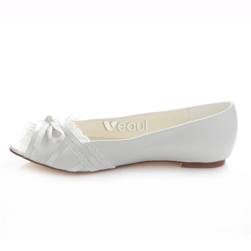 Elegant Flat Bridal Shoes White Wedding Pumps Peep Toe With Lace