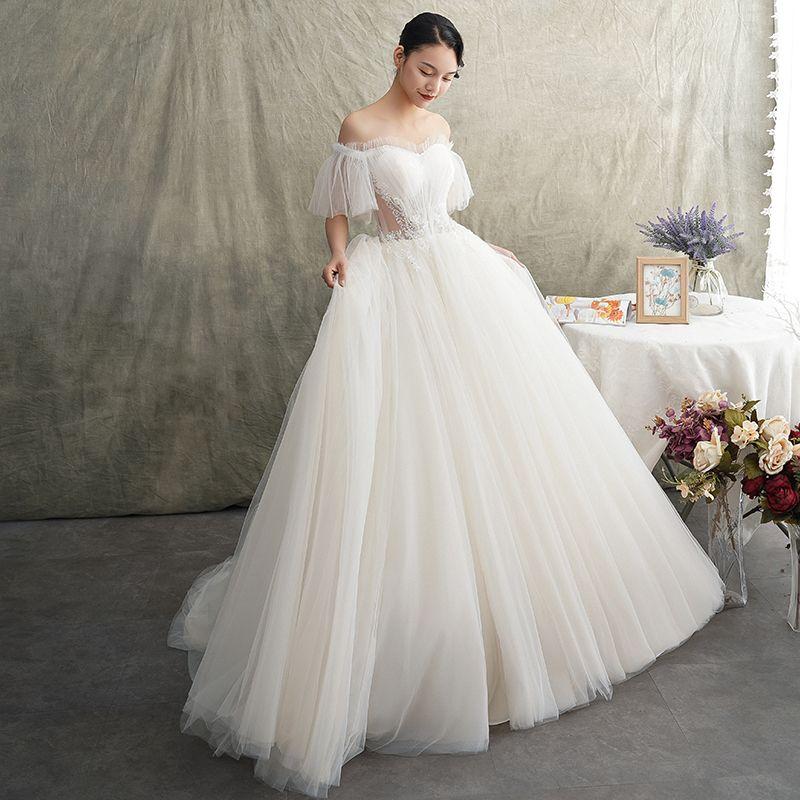Elegant Ivory See-through Wedding Dresses 2019 Princess Off-The-Shoulder Short Sleeve Backless Beading Sweep Train Ruffle