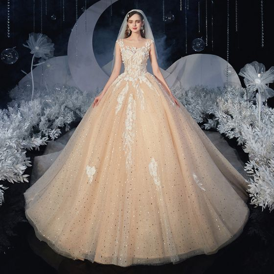 Romantic Champagne Bridal Wedding Dresses 2020 Ball Gown See-through Square Neckline Sleeveless Backless Appliques Lace Sequins Glitter Tulle Cathedral Train Ruffle