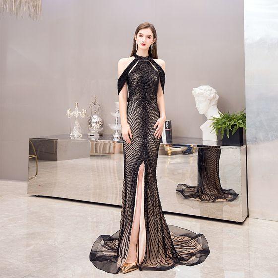 Wysokiej Klasy Czarne Sukienki Wieczorowe 2020 Syrena / Rozkloszowane Posiadacz Bez Rękawów Wykonany Ręcznie Frezowanie Podział Przodu Trenem Sweep Wzburzyć Bez Pleców Sukienki Wizytowe