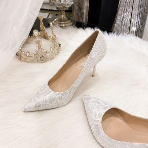 Charmant Ivory / Creme Spitze Brautschuhe 2020 Leder 9 cm Stilettos Spitzschuh Hochzeit Pumps