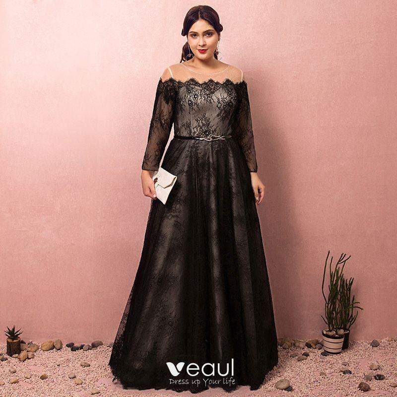 Classy Amazing / Unique Black Plus Size Evening Dresses 2018 A-Line /  Princess Lace-up U-Neck Tulle Appliques Backless Evening Party Formal  Dresses