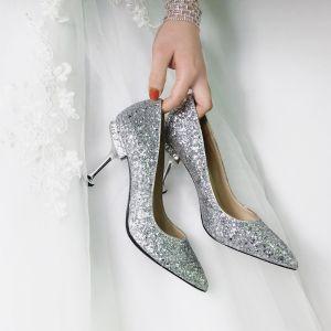 Glitter Zilveren Bruidsschoenen 2018 Pailletten Rhinestone Leer 10 cm Naaldhakken / Stiletto Spitse Neus Huwelijk Pumps