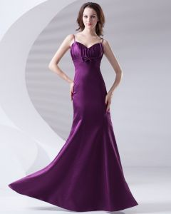 Spaghetti Straps Pleated Bowknot Floor Length Satin Woman Evening Party Dress